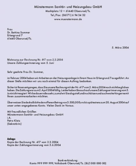 Musterbrief Anfrage Bestellung Gesch 228 Ftsbrief Text Musterbrief Mahnung