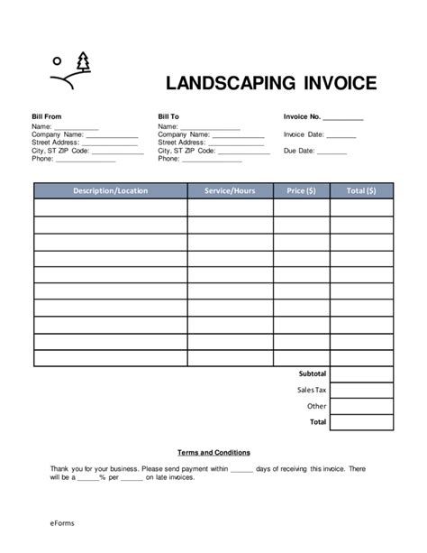 free landscaping invoice template word pdf eforms
