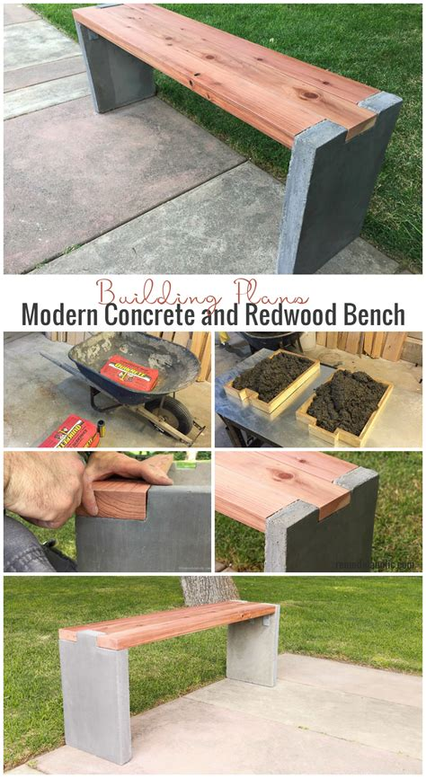 diy concrete bench remodelaholic modern concrete and redwood bench tutorial