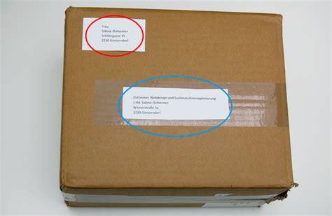 Paketaufkleber Drucken Ohne Porto by Absender Paket Tracking Support