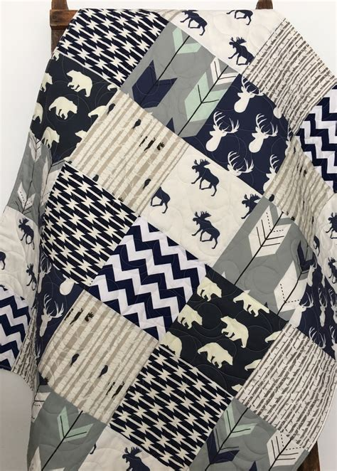 navy quilt bedding baby quilt boy navy gray crib bedding woodland nursery boy
