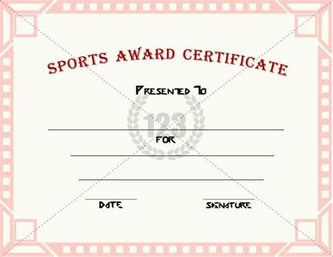 template sports sports award certificate templates for free
