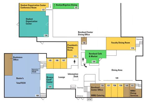 Locations and Floor Plans   Bernhard Center   Western Michigan University