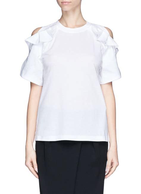 Kazel Ruffle Tshirt Ruffle chlo 233 ruffle cold shoulder jersey t shirt in white lyst