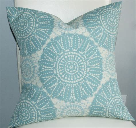Aqua Outdoor Pillows by Decorative Indoor Outdoor Pillow Cover With Aqua Ivory