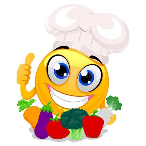 Smile Hat smiley emoticon wearing chef hat holding vegetables stock