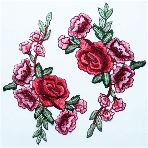 embroidery design rose flower great flower applique with red peony these are features a