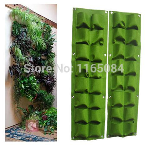 Hanging Garden Planter Bags by 16 Pockets Green Grow Bag Wall Hanging Planter Vertical
