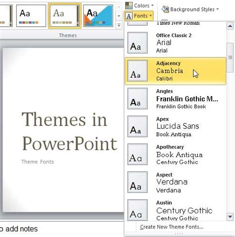 Theme Fonts In Powerpoint 2007 And 2010 Powerpoint Tutorials Theme Powerpoint 2010