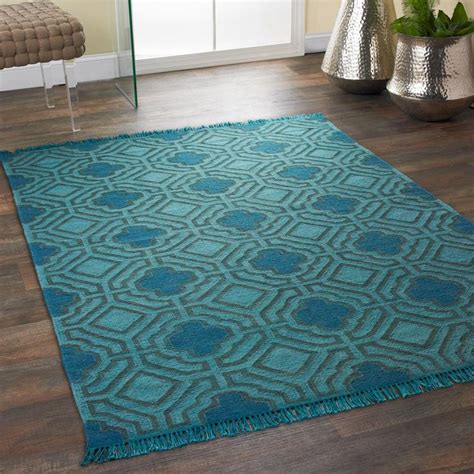 Teal Colored Rugs by Overdyed Wool Flatweave Maze Rug Vibrant Color In A