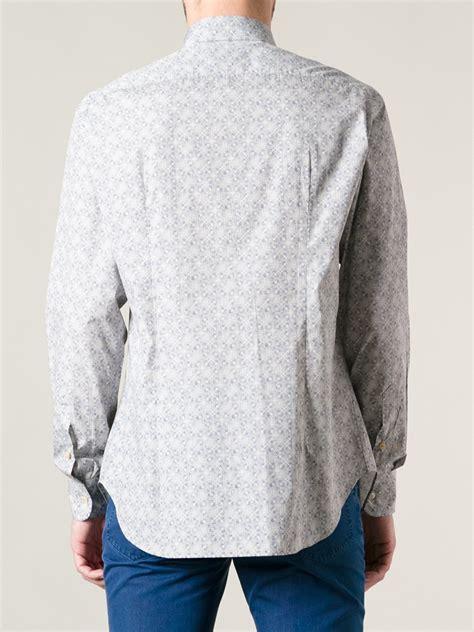 pattern blue shirt brioni pattern print shirt in blue for men lyst
