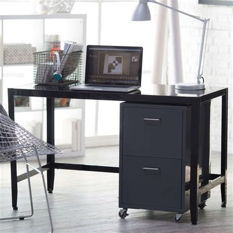 Shoe Drawers Hemnes Collection Sturdy Black Metal Home Office Computer Desk With Simple