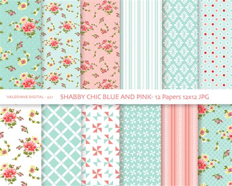 printable paper pack shabby chic digital paper pack in blue and pink digital