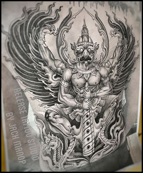 tattoo flash thailand neo thai thai tattoo พญาคร ฑ jack manop line id jack010829