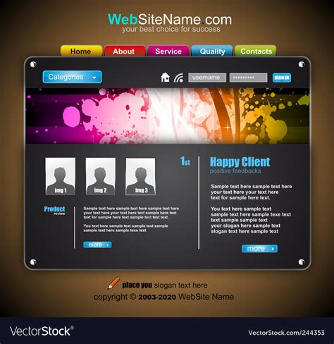 Modern Abstract Colorful Website Template Vector Image Colorful Website Templates