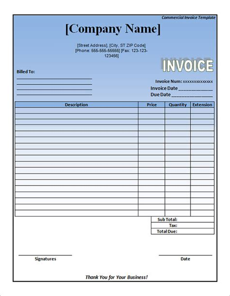 commercial invoice word template 11 commercial invoice templates free documents
