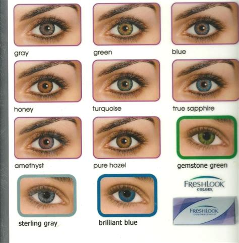 colored contacts no prescription fresh look contacts color chart cheap non prescription