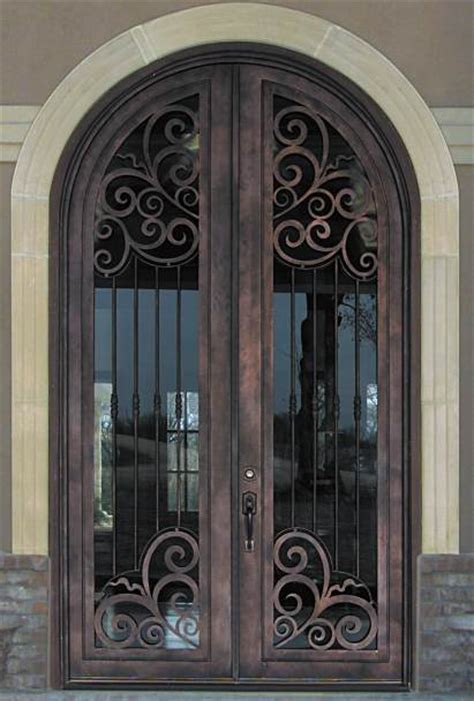 steel door design barcelona 02 steel double round top scrollword design doors