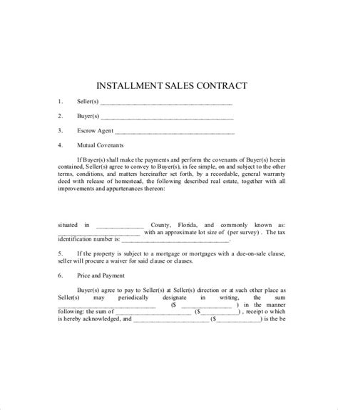 installment sale agreement template sle sales contract agreement 10 exles in word pdf