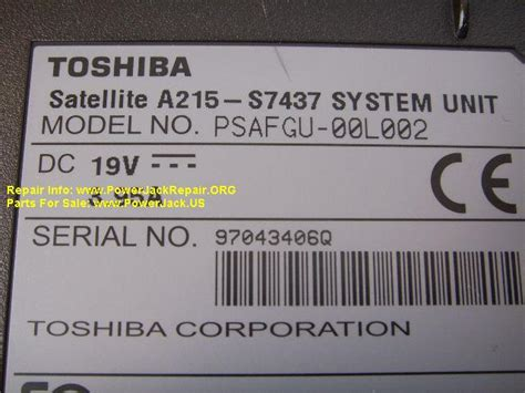 toshiba satellite a215 s7437 dc power repair