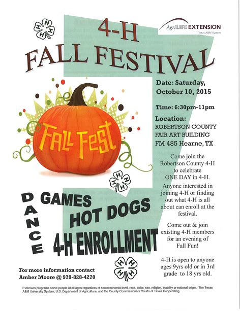 4 H Calendar Of Events Upcoming Events 4 H Fall Festival Robertson