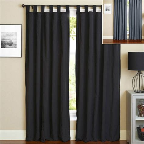 108 in curtain panels blazing needles 108 inch twill curtain panels in black and