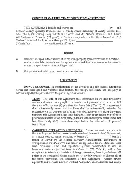 Contract Letter Exle Transportation Contract Template 2 Free Templates In Pdf Word Excel