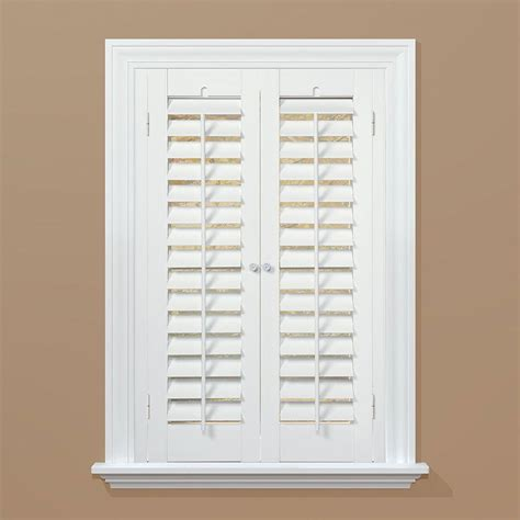 Interior Window Shutters Home Depot 2 Homebasics Plantation Faux Wood White Interior Shutter