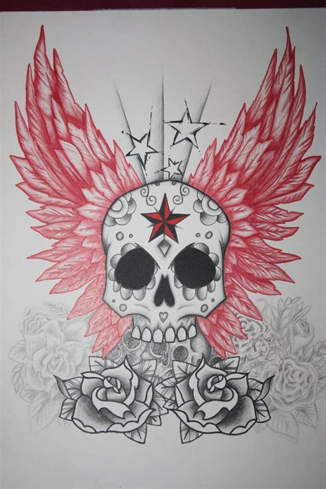 skull and star tattoo designs skull and wings design by itchysack on deviantart