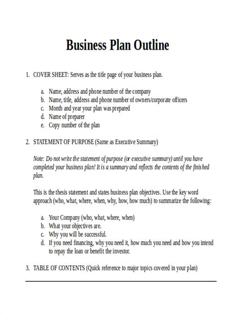 36 Outline Exles Sles In Word Pages Business Outline Template