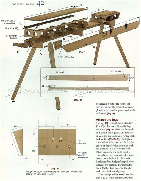 folding miter  table plans woodarchivist