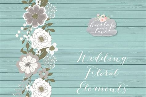 vector rustic wedding clipart teal brown shabby chic