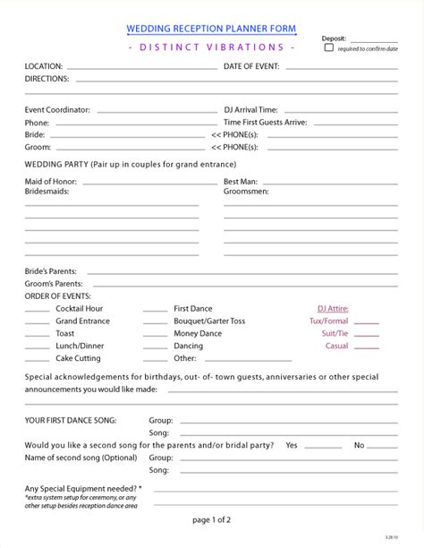 printable wedding planner forms wedding planner form