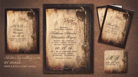 antique wedding invitation  skeleton key vintage