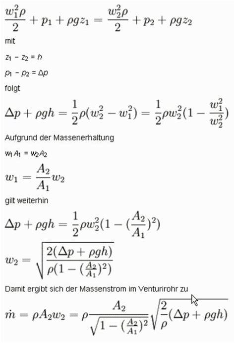 Bernoulli Scformula venturi d 252 se shkwissen haustechnikdialog