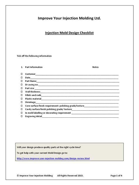 mould design engineer job description injection mold design checklist mold building engineering