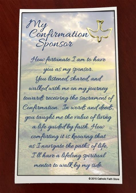 Gift Confirmation Letter Confirmation Sponsor Pin And Card From Catholic Faith Store 1 1 2 Quot X 3 4 Quot Blue