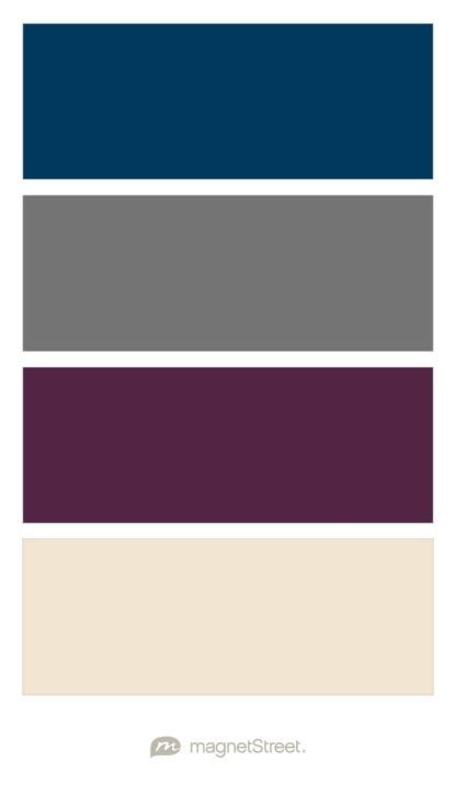 Navy charcoal custom purple and champagne wedding color palette custom color palette