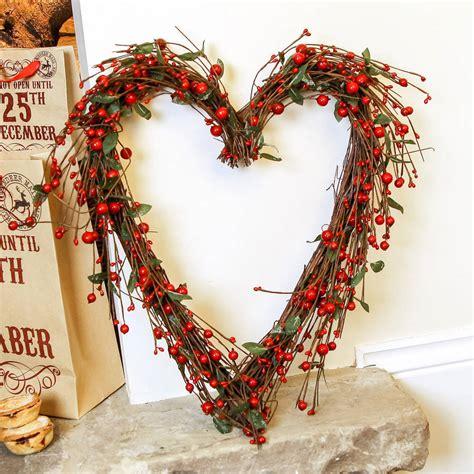 heart berry christmas wreath by dibor notonthehighstreet com