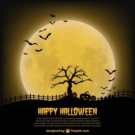 happy halloween poster template with moon vector free