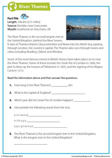 River Thames Questions | comprehension the river thames primaryleap co uk