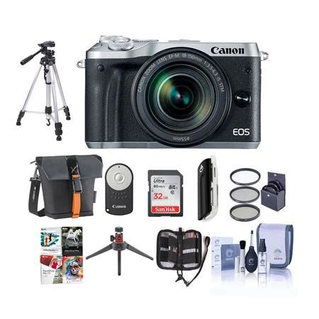 Canon Eos M6 Ef M 18 150mm Silver canon eos m6 mirrorless silver w ef m 18 150mm lens