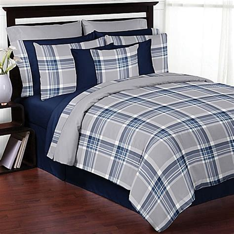grey plaid bedding sweet jojo designs plaid bedding collection in navy grey