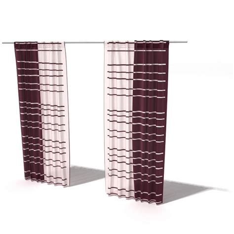 red and white striped curtain panels striped red and white curtains 3d model cgtrader com