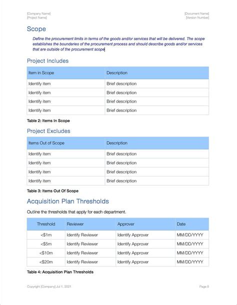 acquisition plan template apple iwork pages and numbers