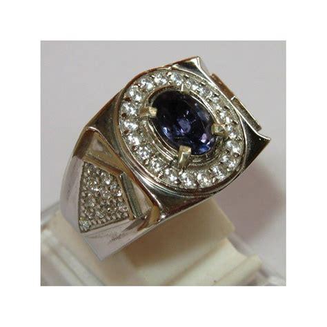 Ring Pria cincin permata iolite untuk pria silver 925 ring 9us