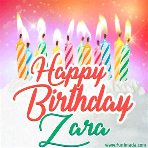 happy birthday gif  zara  birthday cake  lit candles   funimadacom