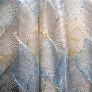 Light Blue Grommet Curtains Gold Baby Blue Chain Stitch Embroidery Sheer Curtain Panels