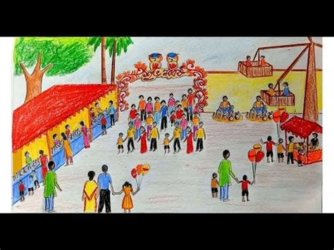 Character Drawings At Fairs how to draw scenery of pohela boishakh fair step