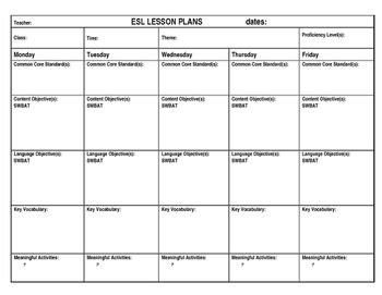 Esl Lesson Plan Template By Esl Now Teachers Pay Teachers Esl Lesson Plan Template